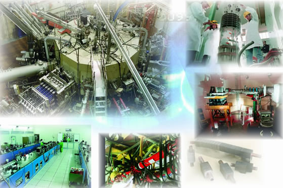 Photo composition of Fusion plant&labs&components in Frascati